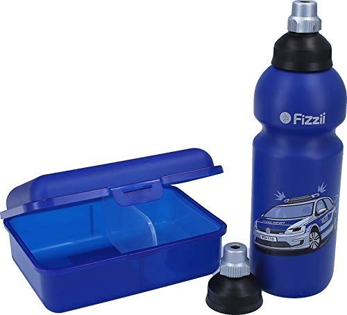 Fizzii Set Trinkflasche 600ml + Lunchbox inkl. Obst-/ Gemüsefach (schadstofffrei, spülmaschinenfest, Motiv: Polizei)