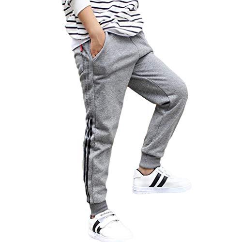 Hongxin Unisex Kinder Trainingshose Sporthose - Streifen Elastische Taille Kordelzug Haremshose Jungen Mädchen Basic Jogginghose Aktive Hosen Freizeithose