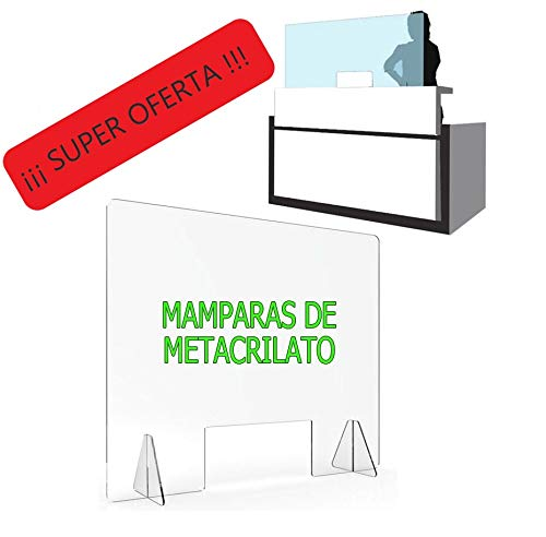 MAMPARA DE PROTECCIÓN METACRILATO TRANSPARENTE EXTRAFUERTE 4mm (80x80cm)