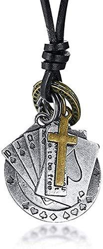Yiffshunl Collares Lucky Fortune Vintage S Collar de Cuerda de Cuero Naipes Charm Hombre Cruz Joyería Collar Regalo