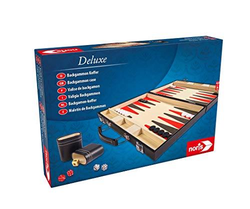 Noris 606101712 - Deluxe Backgammon, der Spieleklassiker im handlichen Koffer in edler Ausführung - auch für unterwegs geeignet, ab 8 Jahren