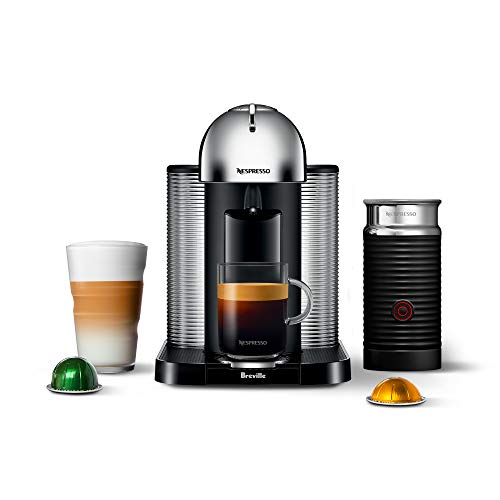 Nespresso Vertuo Coffee and Espresso Machine Bundle with Aeroccino Milk Frother by Breville, Chrome - BNV250CRO1BUC1