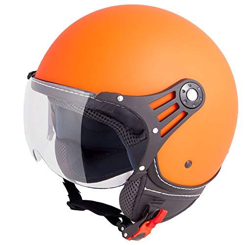 Vinz Casco Stelvio Scooter Jet | en Tallas XS-XL | Casco Jet con Rayas | Certificado ECE | Casco de Moto con Visera (Naranja Mate, Small)