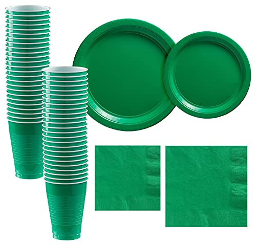 Party City Festive Green Paper Tableware Party Supplies for 50 Guests, Include 2 Sizes of Plates, 2 Sizes of Napkins, and Cups