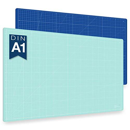 Alfombrilla de corte autorregenerable A1 en azul, rosa y verde. Perfecta para coser, manualidades y patchwork. Impresa por ambos lados 90 x 60 indicación en cm y pulgadas