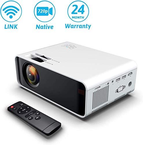 Wireless Projector, WIFI 4500Lumes 720P Home Cinema Projector 1080P Ondersteuning Bij Speaker, Direct Verbinding Met Telefoon, Tablet, PC En Laptop, Compatibel Met HDMI VGA AV USB SD,White