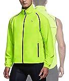 BALEAF Men's Cycling Bike Jacket Running Vest Windbreaker Removable Sleeve Lightweight Reflective Windproof Warm up Fluorescent Yellow Size M
