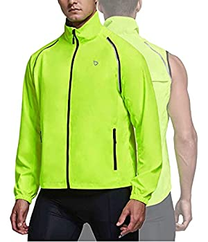 BALEAF Men s Cycling Jacket Running Vest Windbreaker Lightweight Removable Sleeve Reflective Windproof Water Resistant Fluorescent Yellow Size L