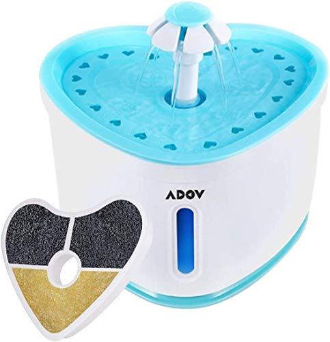ADOV Fuente para Gatos, 2.4L Capacidad Automatico Silencioso Fuente de Mascotas, Higiénico Estilo Flor Dispensador de Agua Bebedero con Resina y Filtro de Carbón Activado y Luz LED para Gato P