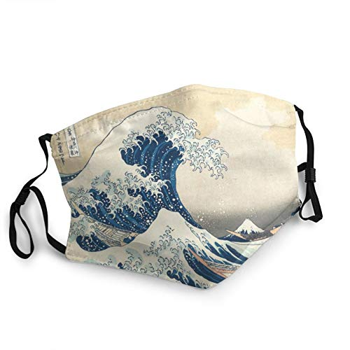 Japanese Art Ukiyoe Kanagawa Surfing Breathable Face Masks Japanese Art Ukiyoe Kanagawa Surfing Motorcycle Face Mask Balaclava Reusable Windproof Neck Gaiter Fabric Outdoors Anti-pollution Dust Mask