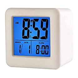 Plumeet Easy Setting Travel Alarm Clock with Snooze,Soft Night Light,Cute Silicone Cover,Digital Alarm Clock Large Display Time & Month & Date & Alarm, Batteries Powered (White)