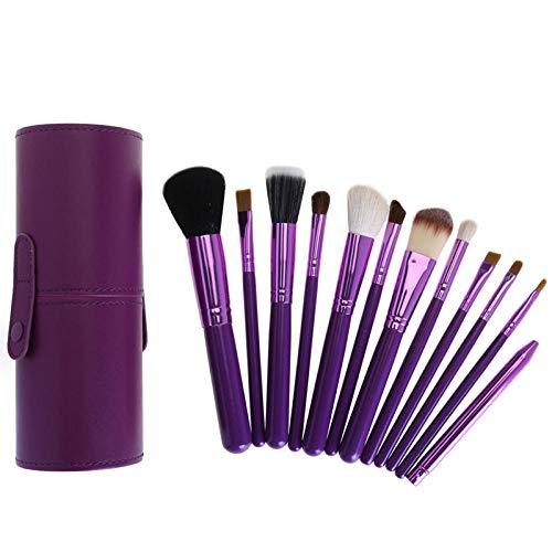 MPKHNM 12-barrel brush bucket brush wooden handle beauty makeup tool tube drum makeup brush set purple