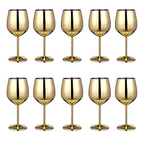 JIAYOUA 304 Copa de Vino de Acero Inoxidable Metal Cóctel de Cocktail Bar Restaurante Champagne Glass Vidrio Copa de Vino Copa 500ml Gilded