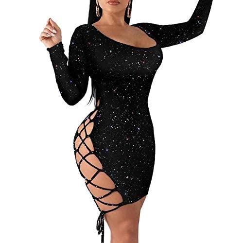 MAHUAOYIXI Hot Sexy, eng anliegendes Kleid mit langen Ärmeln oder Nackenband, rückenlos, kurze Cocktails, Clubwear, Party, Abendkleid, Schwarz , XL