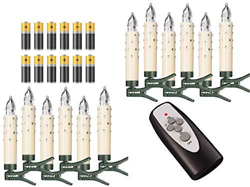 Lot de 12 éclairages bougies pour sapin de Noël avec piles et clips Elfenbein / Creme mit Glas-steinen