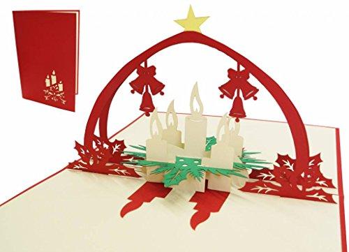 LIN POP UP Karte 3D Grußkarten Weihnachtskarten Weihnacht Adventskranz (# 436)