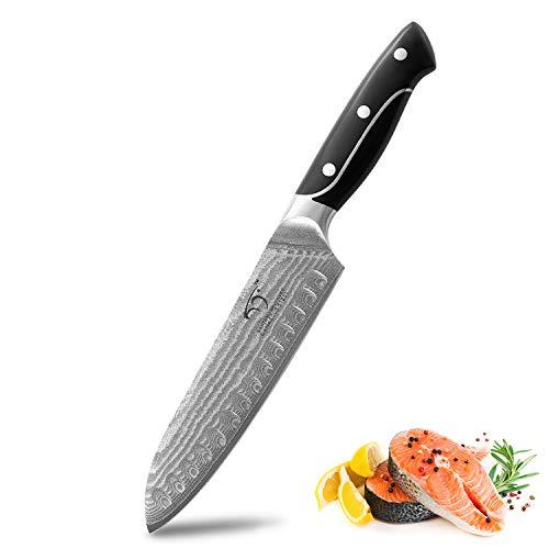 NANFANG BROTHERS Cuchillo Damasco Cuchillo Santoku 19.5 cm Hoja Extremadamente Afilada 67 Layer I Cuchillo de Cocina Damasco y Cuchillo de Chef Japonés Profesional en Acero de Damasco Real