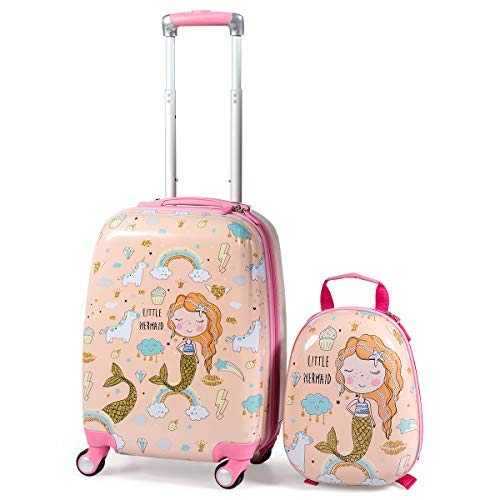 GOPLUS Set di 2 Pezzi da Viaggio, Valigia e Zaino per Bambini, Valigetta con 4 Ruote, Rosa/Blu, con Disegni Multicolore e Carini (Principessa sirena)