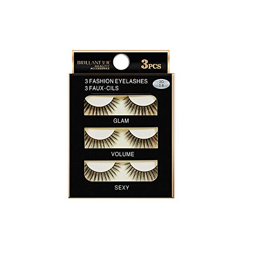 3 Pairs 3D Long False Eyelashes,BZLine Makeup Natural Fake Thick Black Eye Lashes