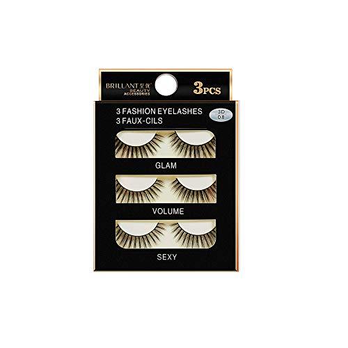 3 Pairs 3D Long False Eyelashes,BZLine Makeup Natural Fake Thick Black Eye Lashes