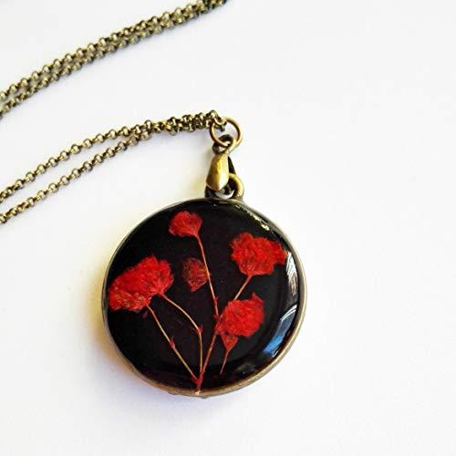 Rote Blumenhalskette, Vintage-Kunstschmuck, Doppelseitiger Schmuck, Romantisches Geschenk für Frauen