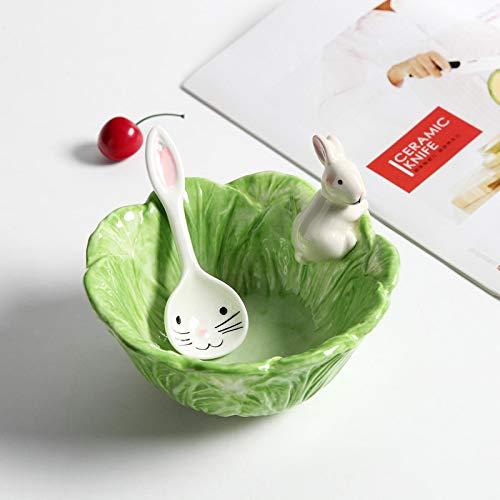Cuencos de cerámica de dibujos animados conejos tazón de fuente de col platos de estilo conejos plato ensalada de frutas tazón vajilla decoración de fiesta hogar suministros de comedor seechart