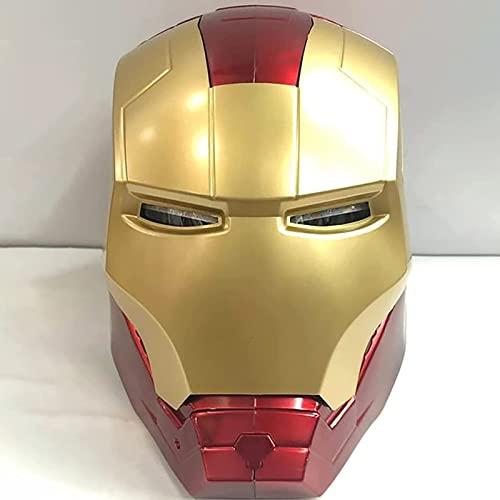 WXHJM Marvel Avengers Iron Man Casco Máscara Luminosa,Película de Halloween Cosplay Accesorios de Disfraces Plástico Máscaras Faciales Máscaras Cascos