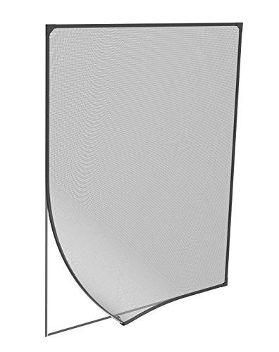 Windhager Insektenschutz Magnetfenster, Magnet Rahmen für Fenster Fliegengitter Mückengitter, werkzeugfreie Montage, Anthrazit, 100 x 120 cm, 04301