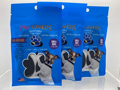 PAW-SAVERS Disposable Paw Pads - 3 Pack - 72 Pcs Disposable Paw Pads for Dogs | Dog Paw Protectors for Indoor & Outdoor Use | Self Adhesive Toe Grip Protector | Anti-Slip & Traction Paw Pad (Small)