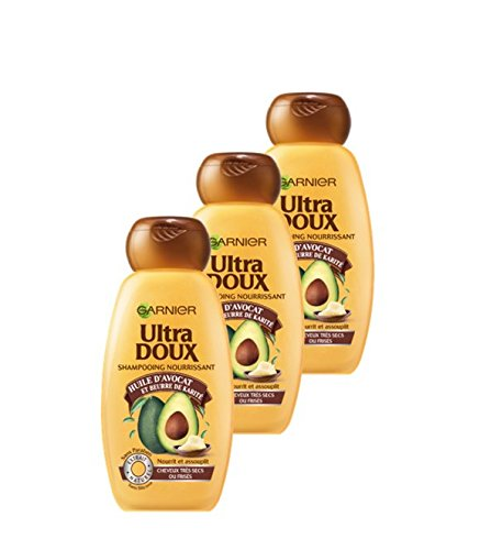 Garnier Ultra Doux Shampoo für sehr trockenes / frisiertes Haar, Avokatöl / Sheabutter, 250 ml, 3 Stück