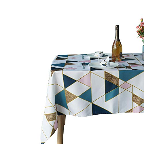 Weddecor 60 x 84 Inch Geometric Scandinavian Triangles Tablecloth Rectangle, Waterproof Spillproof Washable Polyester Table Cloth for Outdoor Picnic, Kitchen, Patio, Turquoise Blue & Pink