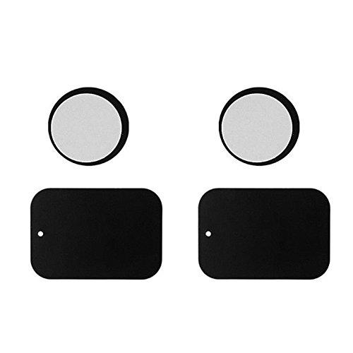 Juego de 4 soportes magnéticos para teléfono con placa de metal autoadhesiva, para soporte de teléfono de coche (estilo = rectangular + redondo, cantidad = 4 piezas)