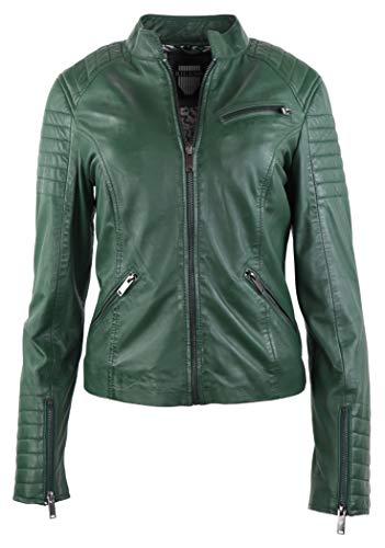 RICANO 7621 Damen Lederjacke (Slim Fit) im Bikerstil aus echtem Lamm Nappa Leder in Schwarz oder Military Grün (Military Grün, XL)