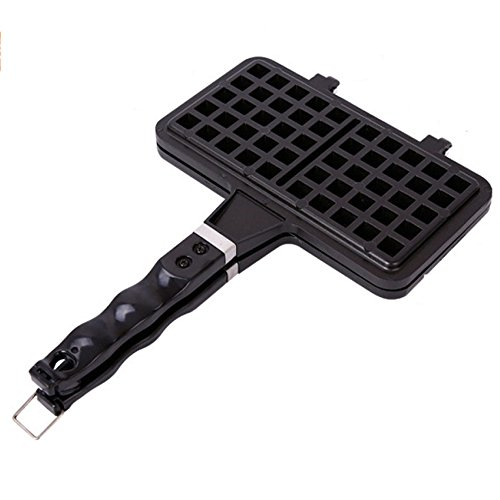 Review LDFN Traditional Waffle Maker Non-stick Checkered Aluminum Alloy Waffle Mould Tray With Handl...