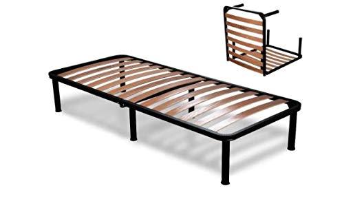 EvergreenWeb - Somier Cama Plegable Individual 75 x 190 con somier de Madera ortopédico, Estructura...