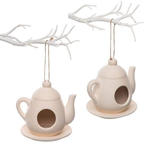 """Baker Ross Keramik-Futterhäuschen """"Teekanne"""" für Kinder als Bastel- und Deko-Idee für Jungen und Mädchen (2 Stück)"""