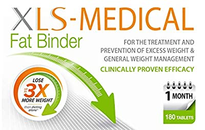 XLS-Medical Fat Binder Tablets Weight Loss Aid, 1 Month Supply Pack, 180 Tablets
