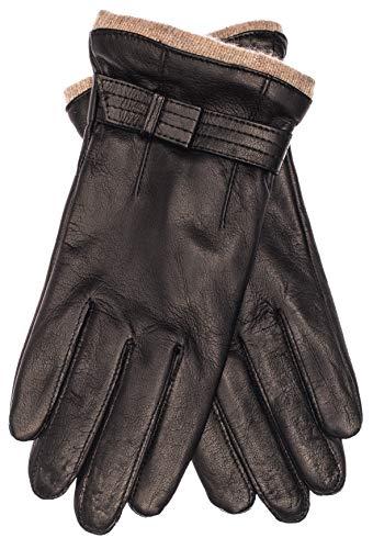 EEM Damen Leder Handschuhe KYLIE aus Lammnappaleder mit Zierriegel, Strickstulpe und Fleecefutter; schwarz, L
