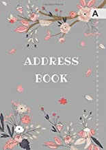 Address Book: B6 Small Contact Notebook Organizer with A-Z Alphabetical Tabs | Cute Peaceful Floral Branch Design Gray