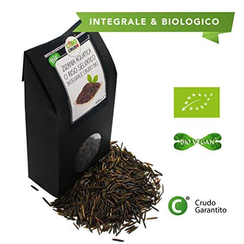CiboCrudo Riso Selvatico Integrale Bio Crudo, Zizania Acquatica - 500gr - Raw Organic, Wild Rise, Biologico e Naturale, Origine Canadese, Senza Glutin