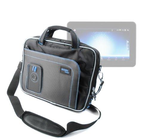 "DURAGADGET Black & Blue Shoulder Bag With Accessory Storage For Polaroid MIDC497, Samsung Galaxy tab 3. 10"", Samsung Galaxy Note 10.1"", Polaroid 9.7"" Tablet Diamond, Polaroid 9"" Tablet Diamond, Haier Pad Maxi 10.1"""
