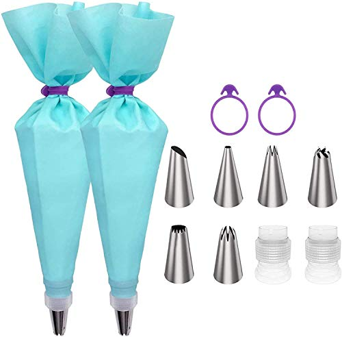 Piping Bag and Tips Set, Cake Decorating Kit for Baking with Reusable Pastry Bags and Tips, Standard Converters, Silicone Rings, Cake Decorating Supplies for Deviled Egg, Cupcake and Cookie Icing