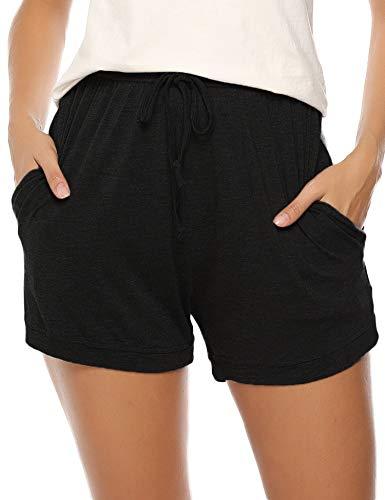 Aibrou Damen Laufshorts Yoga Kurze Hose Sweatpants, Jogginghose Gestreift Shorty Nachtwäsche Schwarz M