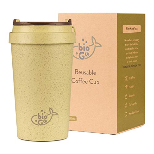 bioGo Cup | Rice Husk Fibre | BPA-Free, Double Wall Insulation Reusable Coffee Cups | On-The-Go Travel Mug | Screw Tight Lid | Textured Grip | Ultra Lightweight | (Pistachio Green, 350ml)