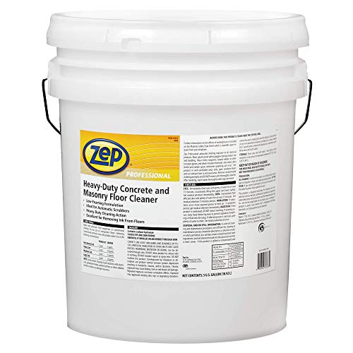Zep Professional R03335 Heavy-Duty Concrete and Masonry Floor Cleaner, Butyl Fragrance, Clear/Red 1041549 (Pail of 5 Gallons)