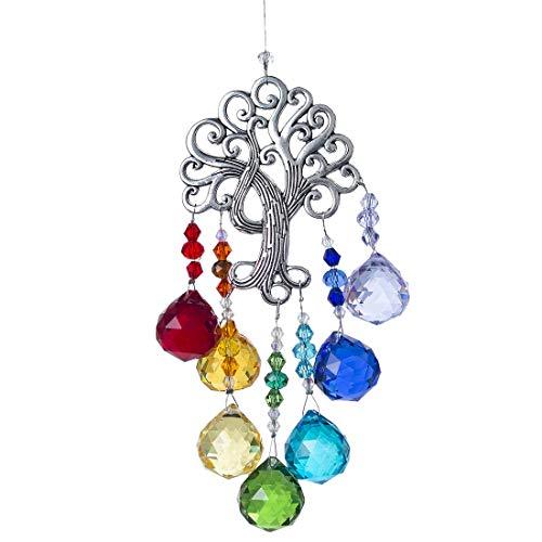 Cristal arc en ciel Attrape-soleil, ornement de fenêtre à suspendre arbre de vie, avec prisme en boule de verre de 20 mm