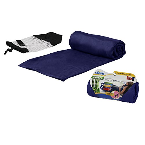 Cloudz Bamboo Travel Blanket with Bag - Navy Blue