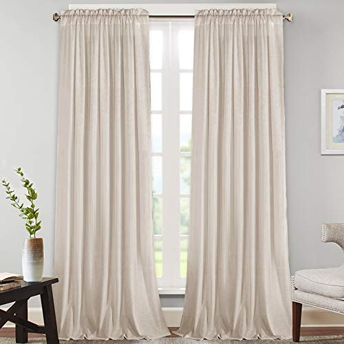 """Natural Rich Linen Curtains Semi Sheer for Bedroom/Living Room/Dining 