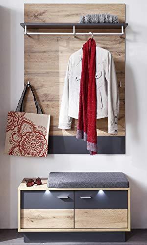 trendteam smart living Garderobe Garderobenkombination 2-teiliges Komplett Set Coast, 84 x 190 x 35 cm in Wotan Eiche Dekor, Absetzung Ablage Grau mit LED Beleuchtung