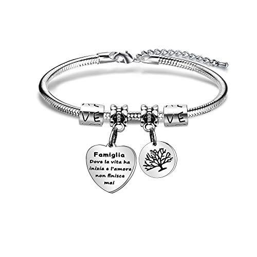 Angelra - Pulsera para mujer con inscripción en inglés «Dónde la vida ha comenzado», colgante de corazón con grabado de plata ajustable